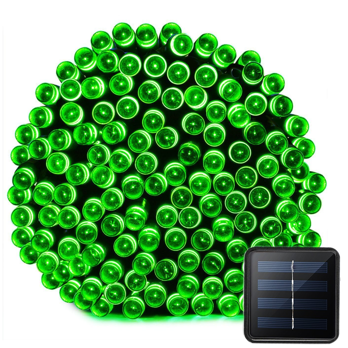 VMANOO Solar Christmas Lights, Happy St. Patrick's Day 72ft 22m 200 LED 8 Modes Solar String Lights for Outdoor, Indoor, Gardens, Homes, Party, Wedding, Halloween Decorations, Waterproof (Green)