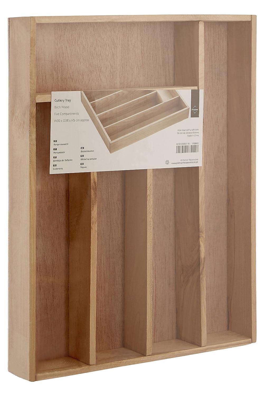 Premier Housewares - Cubertero, organizador de cubiertos, madera de abedul (5 x 30 x 38 cm): Amazon.es: Hogar