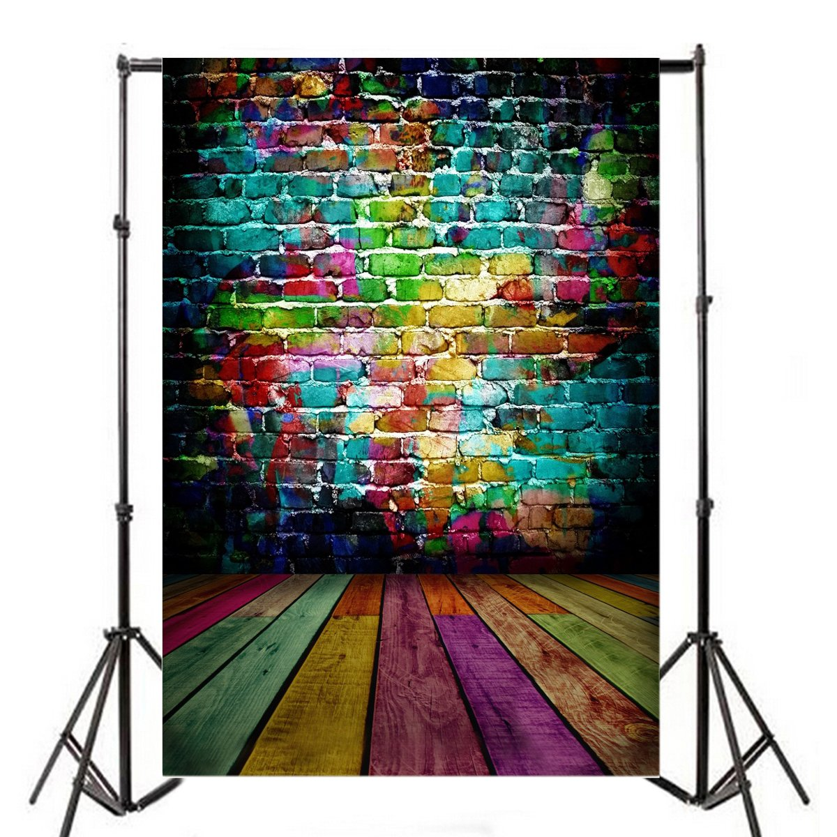LFEEY 5x7ft Portrait Backdrop Wooden Floor Graffiti Brick Wall Backgrounds for Photography Photo Studio Prop for Rock Style Party, Hip Hop