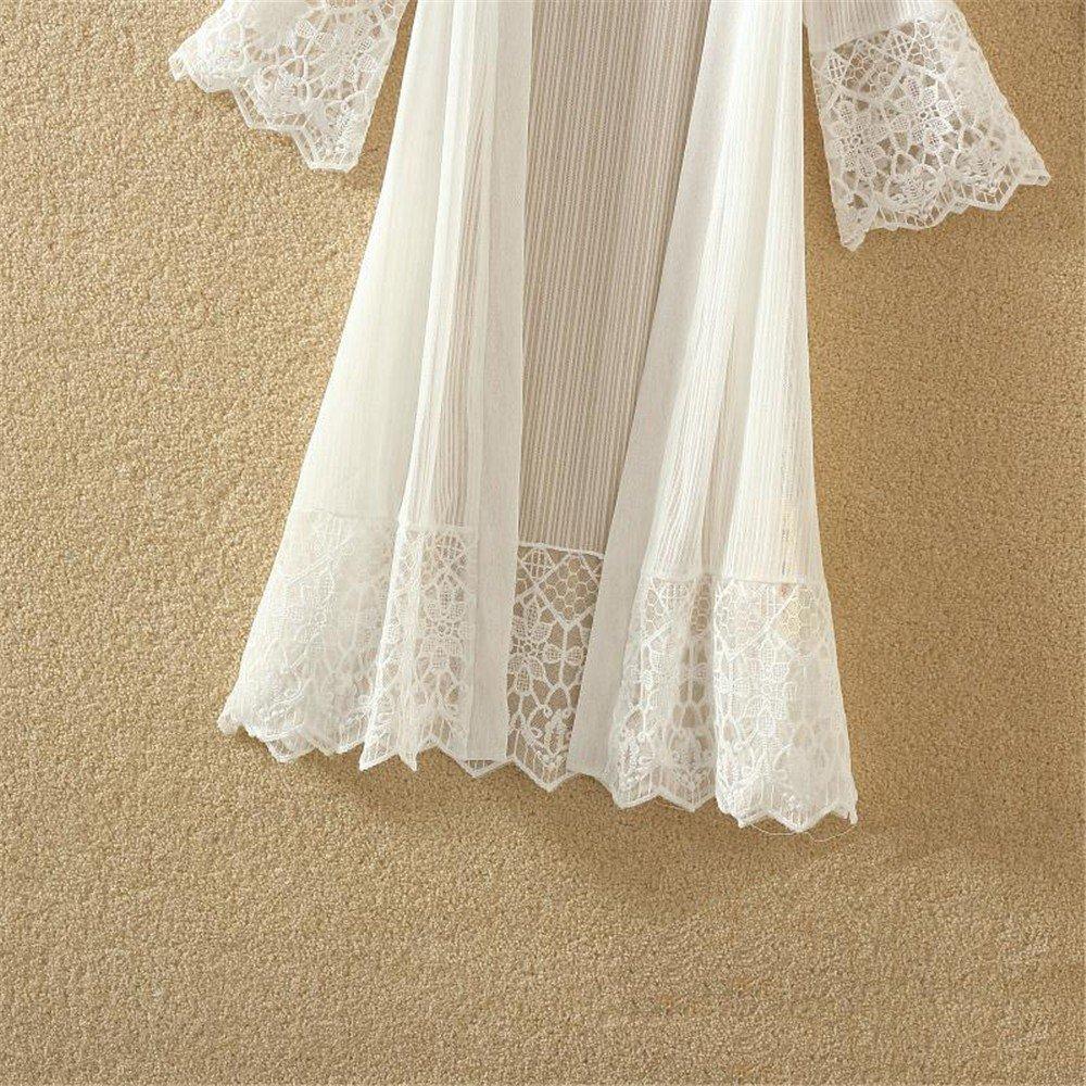 ❤️ Kimonos Mujer,Modaworld Moda Casual Mujeres de Manga Larga Tops de Encaje Blusa Camiseta Smock Cardigans Mujer Camisola Playa Chaqueta Mujer Primavera Oto/ño