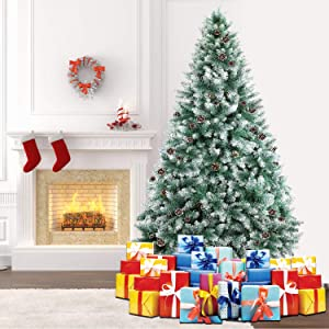 SHareconn 7.5ft Unlit Artificial Hinged Christmas Tree with Pine Cones, 2000 Branch Snow Tips and Metal Stand