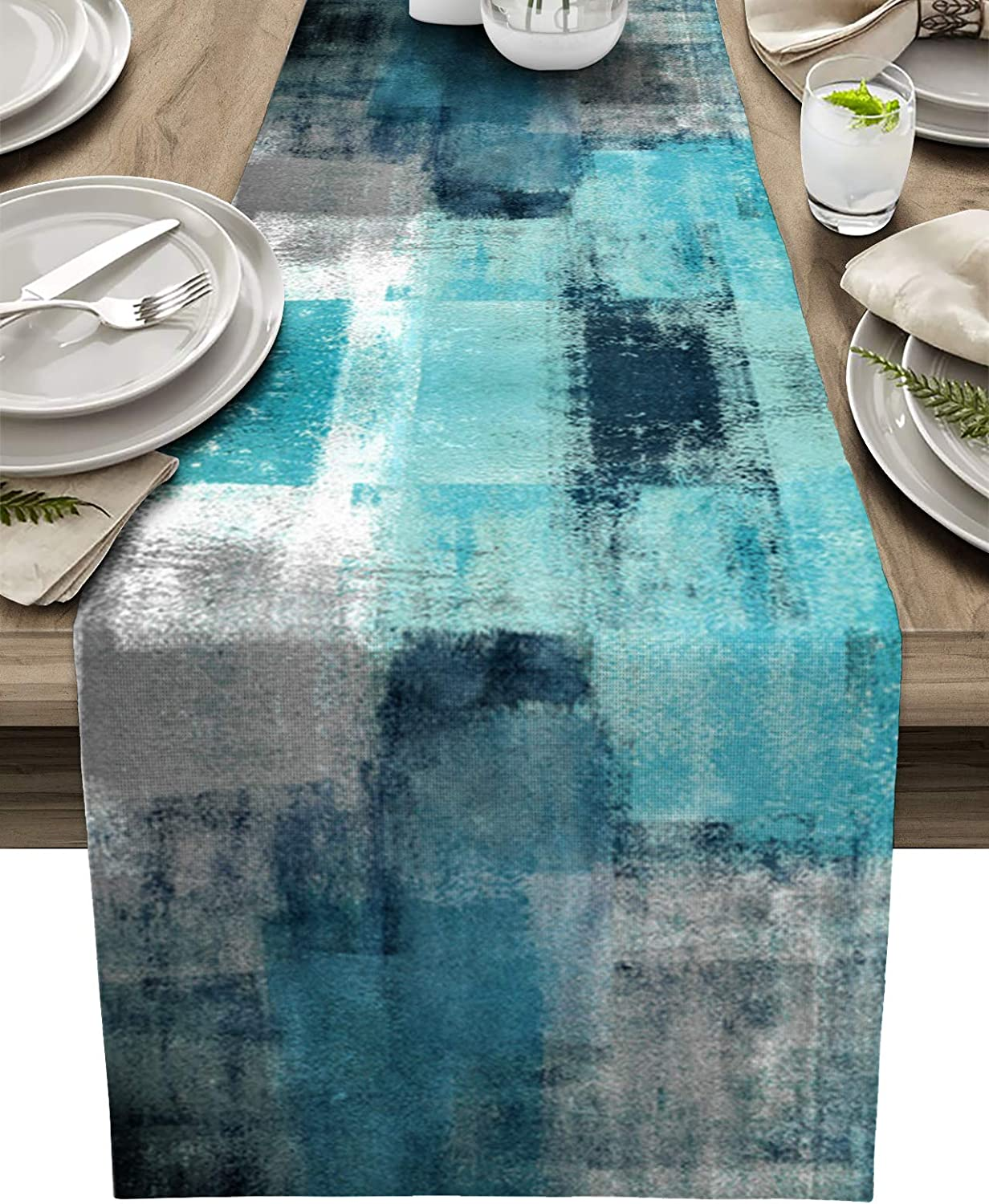BINGIGO Teal Coffee Table Runner 70 inches Long Turquois Dining Table Runner for Wedding Birthday Party,Thanksgiving Holiday Dinner Decor, Farmhouse Style 13x70inch