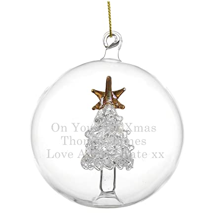 Personalised Glass Christmas Tree Bauble: Amazon.co.uk: Kitchen & Home