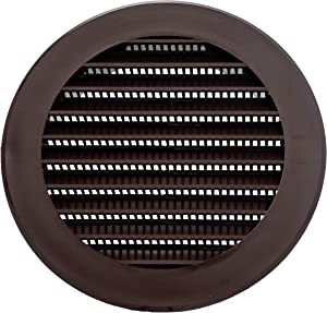 Vent Systems 4'' Inch Brown Soffit Vent Cover - Round Air Vent Louver - Grill Cover - Built-in Insect Screen - HVAC Vents for Bathroom, Home Office, Kitchen
