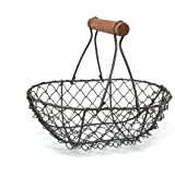 Wire Chicken Egg Basket, Wood Handle, Farm Style by EggBaskets (Rust Brown)