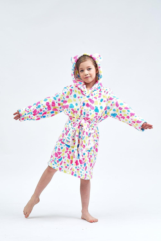 Boys /& Girls Bathrobes Plush Soft Coral Fleece Floral Hooded Sleepwear for Kids