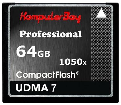 Komputerbay Professional Compact Flash - Tarjeta Flash 64GB CF 1050x 100 MB/s escritura 160MB/s lectura UDMA 7 RAW 64 GB, velocidad extrema