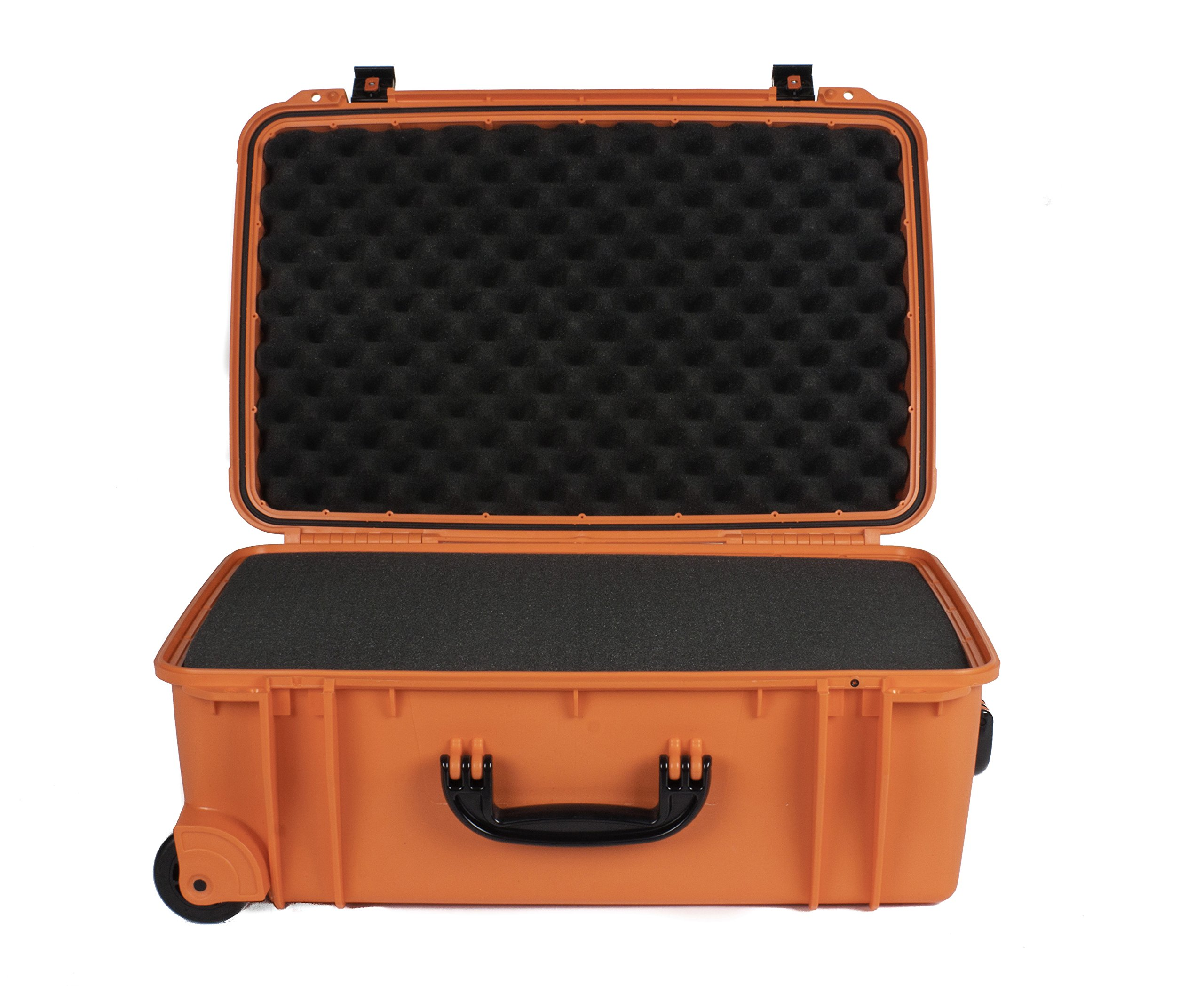 Seahorse 920 Protective Wheeled Case with Foam, Neon Orange