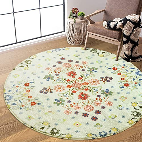 Uphome Round Area Rug 4ft Beige Rustic Floral Throw Rugs Super Soft Velvet Accent Rug Contemporary Cute Floor Carpet Non-Slip Washable Country Colletcion Design