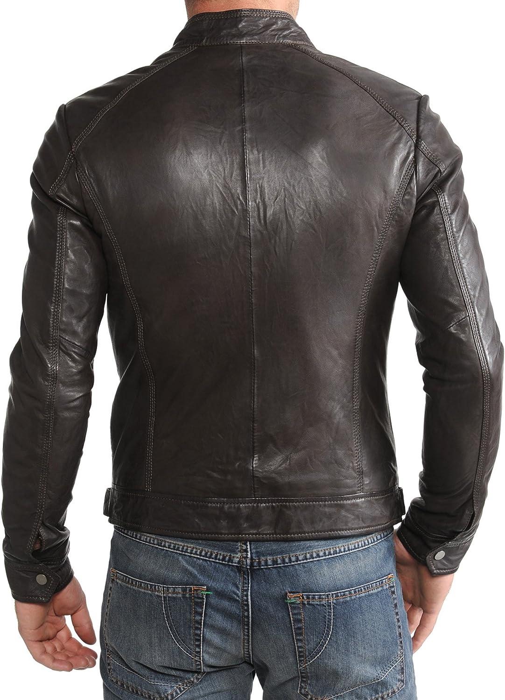 Mens Genuine Lambskin Leather Jacket Slim fit Motorcycle Jacket P172