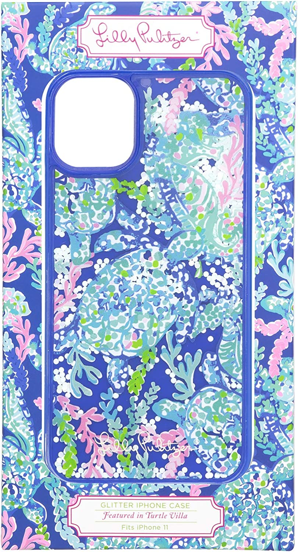 Lilly Pulitzer Cute Blue Glitter Bomb iPhone 11 Case for Women, Turtle Villa