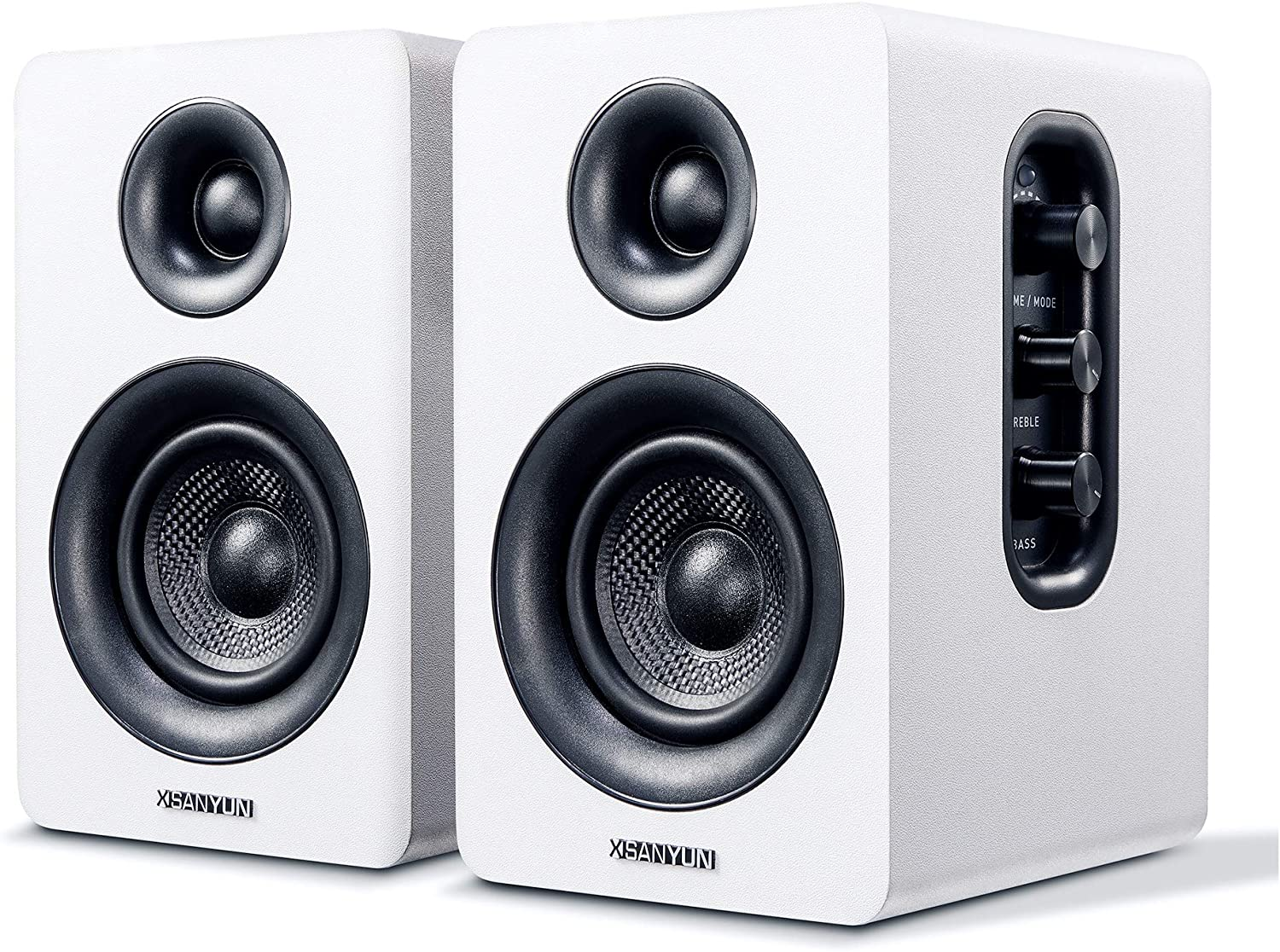 "Sanyun SW208 3"" Active Bluetooth Bookshelf Speakers - 60W Carbon Fiber Speaker Unit - aptX Codec - Built-in 24 bit DAC - Dynamic 3D Surround Sound - Computer PC Monitor Gaming Speakers (Pair, White)"