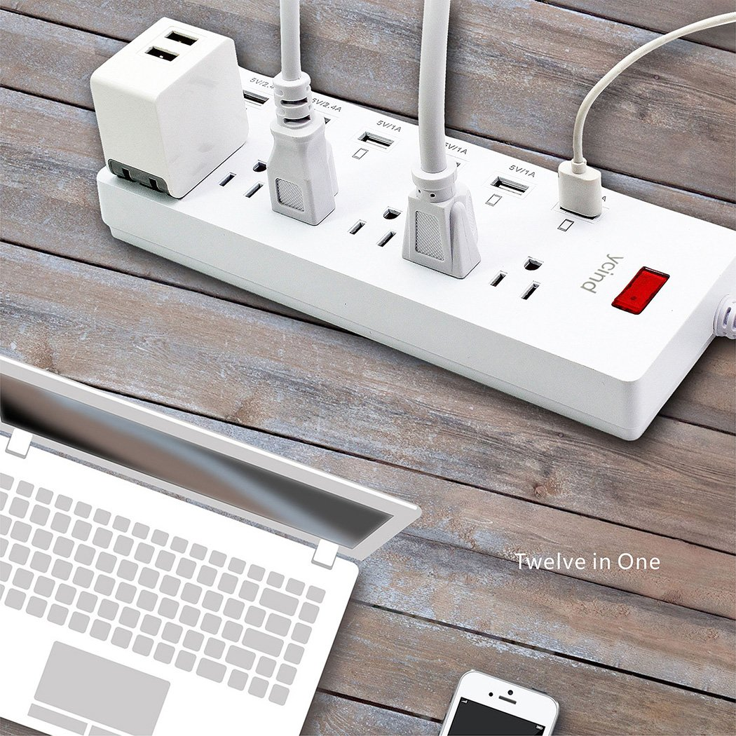 6 Feet Heavy-Duty Power Cord for iPhone iPad Samsung Tablet HTC LG White 4332798664 1625W//13A YCIND Surge Protector Power Strip 6 AC Outlets 6 USB Charging Ports