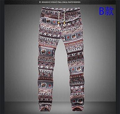 Bettersale Spring Mens Casual Drawstring Floral Joggers Hawaii Beach Pants Indian Pattern Printed Dancing Sweatpants Pantalones