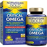 Norwegian Gold - Critical Omega - Omega 3 fish oil supplement - burpless - brain and heart health- 120 softgel capsules - a Renew Life brand