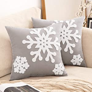 MIULEE Pack of 2 Canvas Decorative Christmas Snowflake Throw Pillow Covers Embroidery Cushion Cases Holiday Decor Soft Pillowcases for Couch Sofa Bedroom Car(Grey, 18x18in)