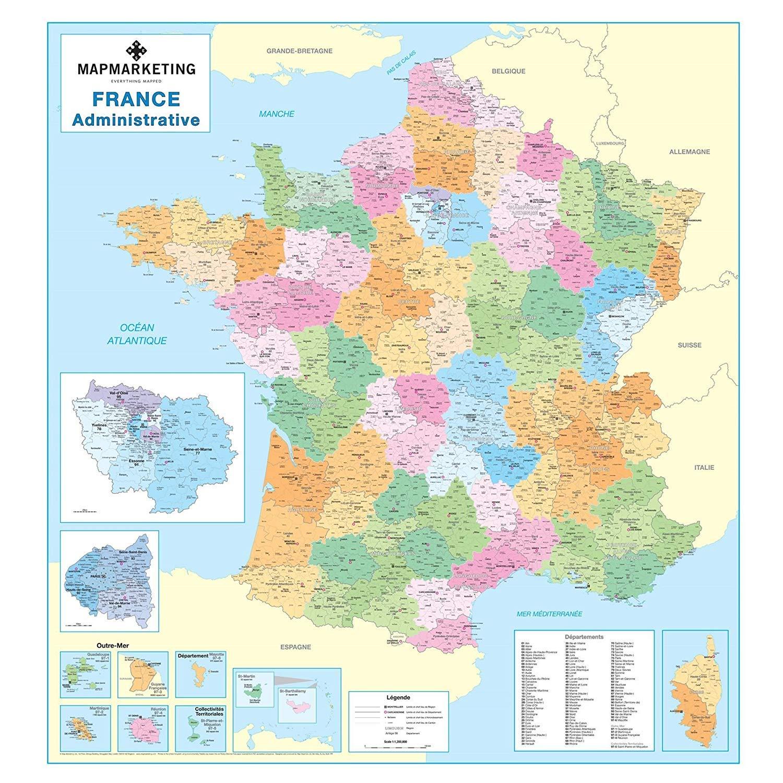 Dipartimenti Francia Cartina.Mappa Amministrativa Francese Cartina Politica Laminata Da