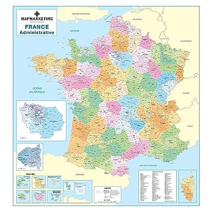 Cartina Della Francia Fisica.Mappa Amministrativa Francese Cartina Politica Laminata Da