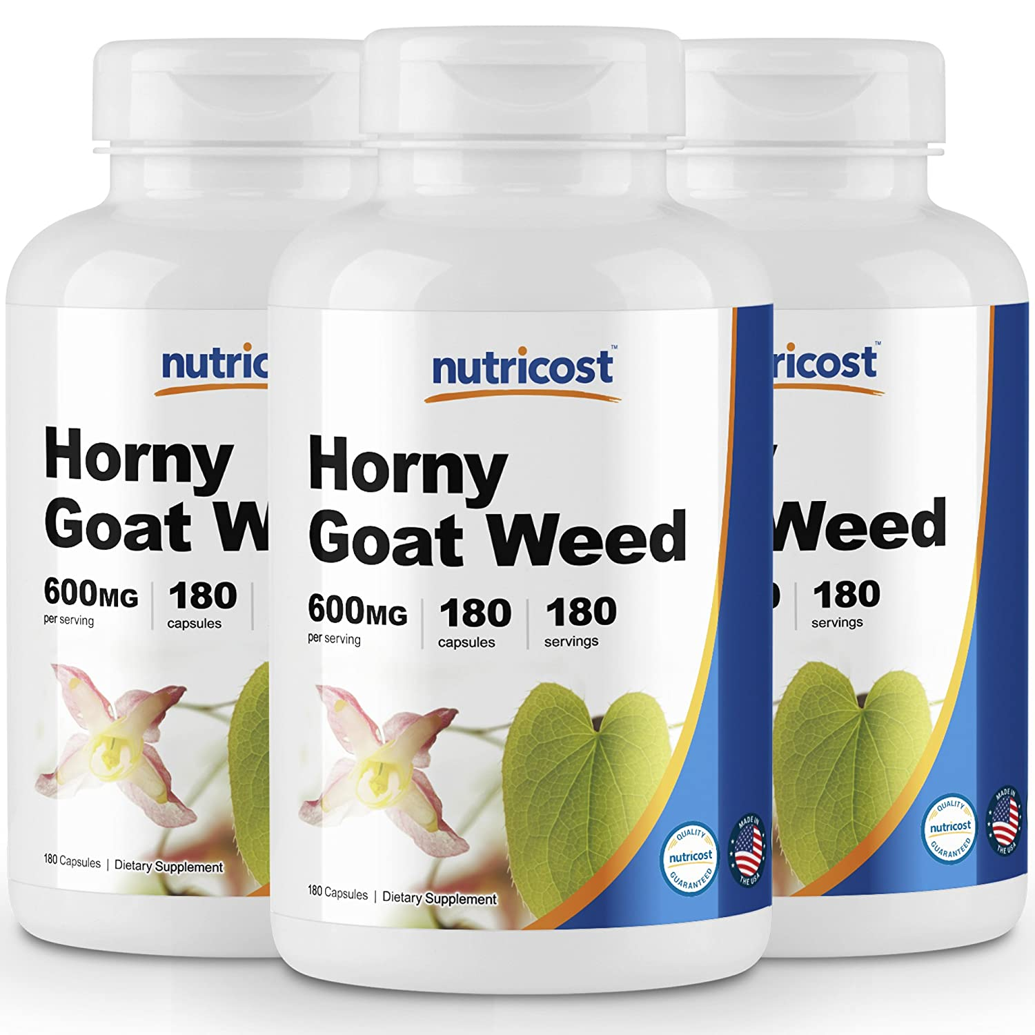 Nutricost Horny Goat Weed Extract Epimedium 3 Bottles – 180 Capsules, 180 Servings Per Bottle, 600mg Per Capsule
