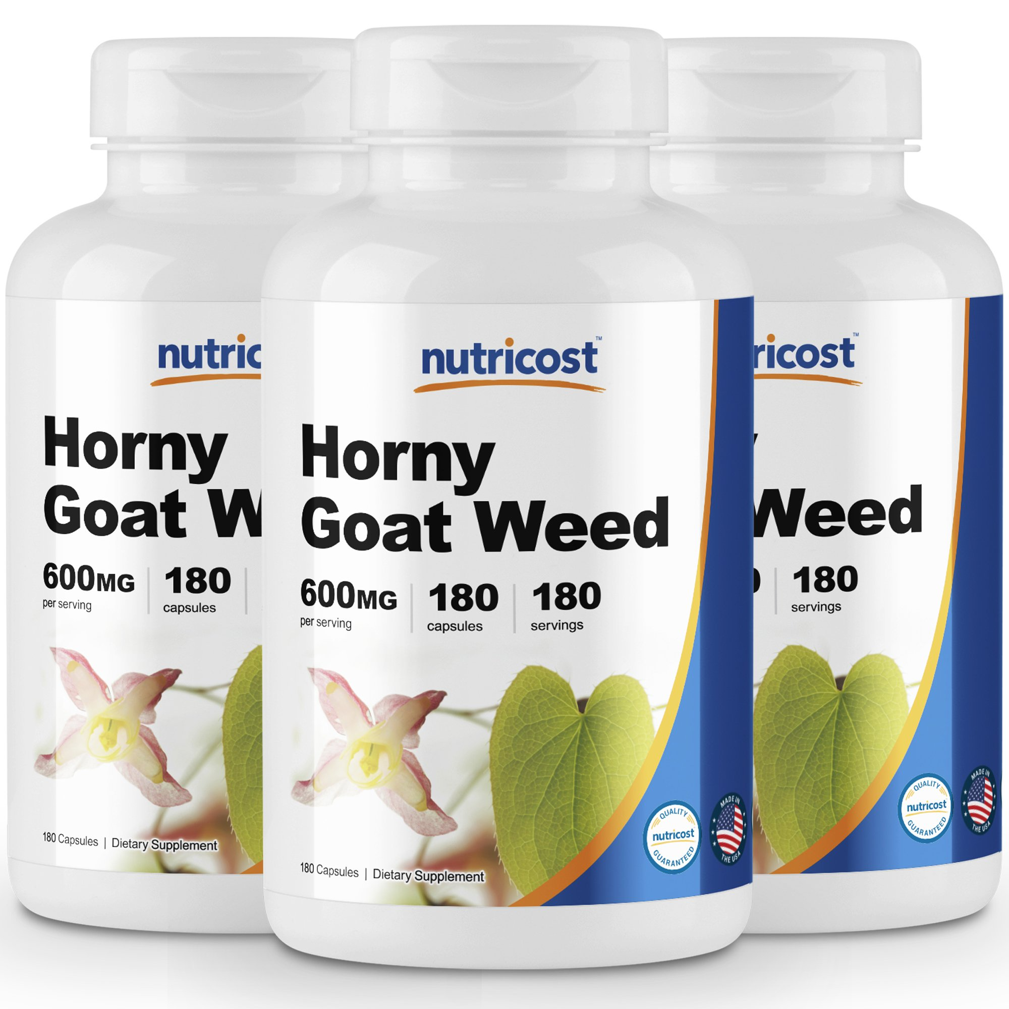 Nutricost Horny Goat Weed Extract (Epimedium) (3 Bottles) - 180 Capsules, 180 Servings Per Bottle; 600mg Per Capsule