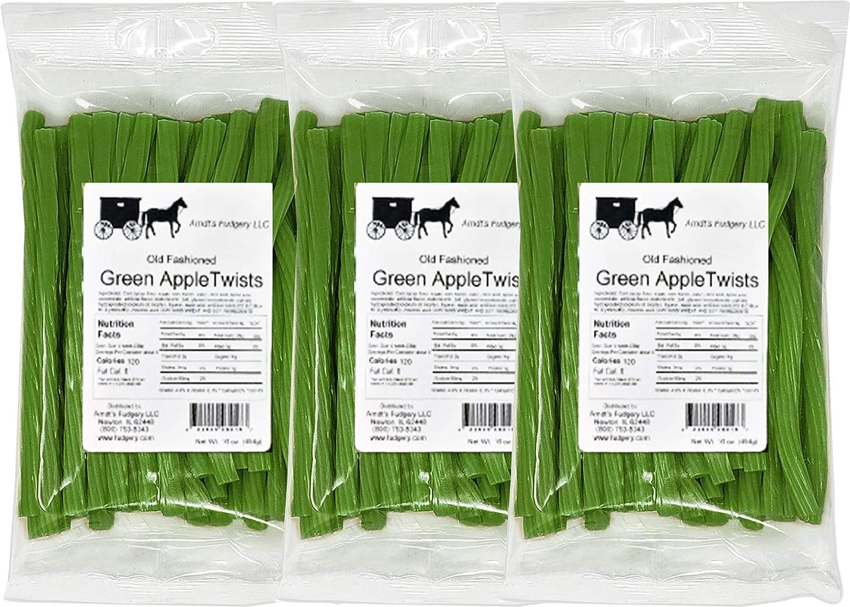 Amish Licorice Twists - Three 16 Oz Pkgs. - Green Apple