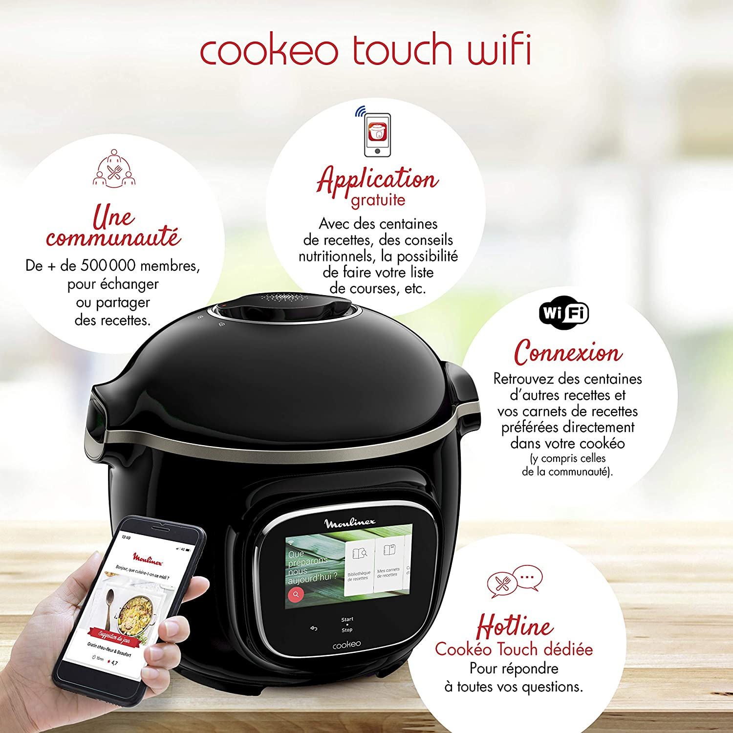Moulinex Cookeo Touch - Olla inteligente de alta presión WiFi Touch Connect Negro: Amazon.es: Hogar