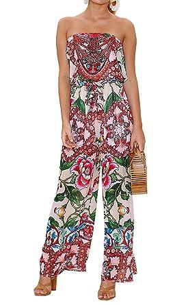 b519191c19 Hibluco Women s Fashion Boho Floral Print Sleeveless Jumpsuit Strapless  Romper (Medium