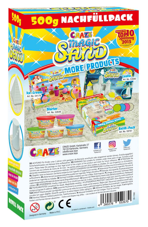 Multi Color 700 g CRAZE Magic Sand Beach Activity Box 700g Spielsandset Kinetic Spielsand 52700