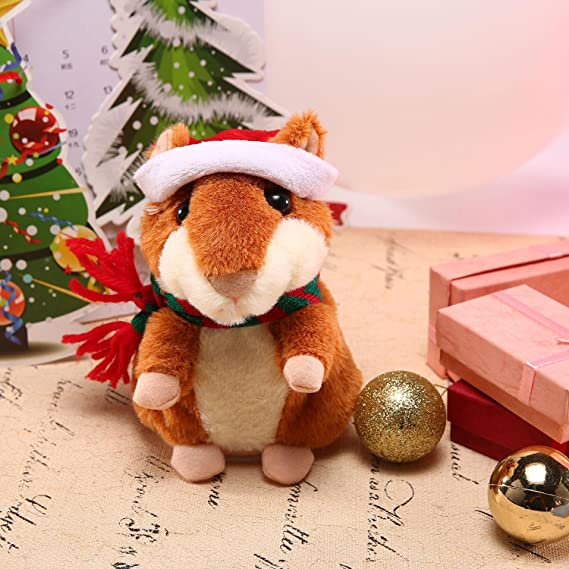 Amazon.com: Leegoal(TM) Electronic Hamster,Talking Hamster Toy, Repeats What You Say Interactive Toys, with Christmas Hat & Christmas Scarf for Kids ...
