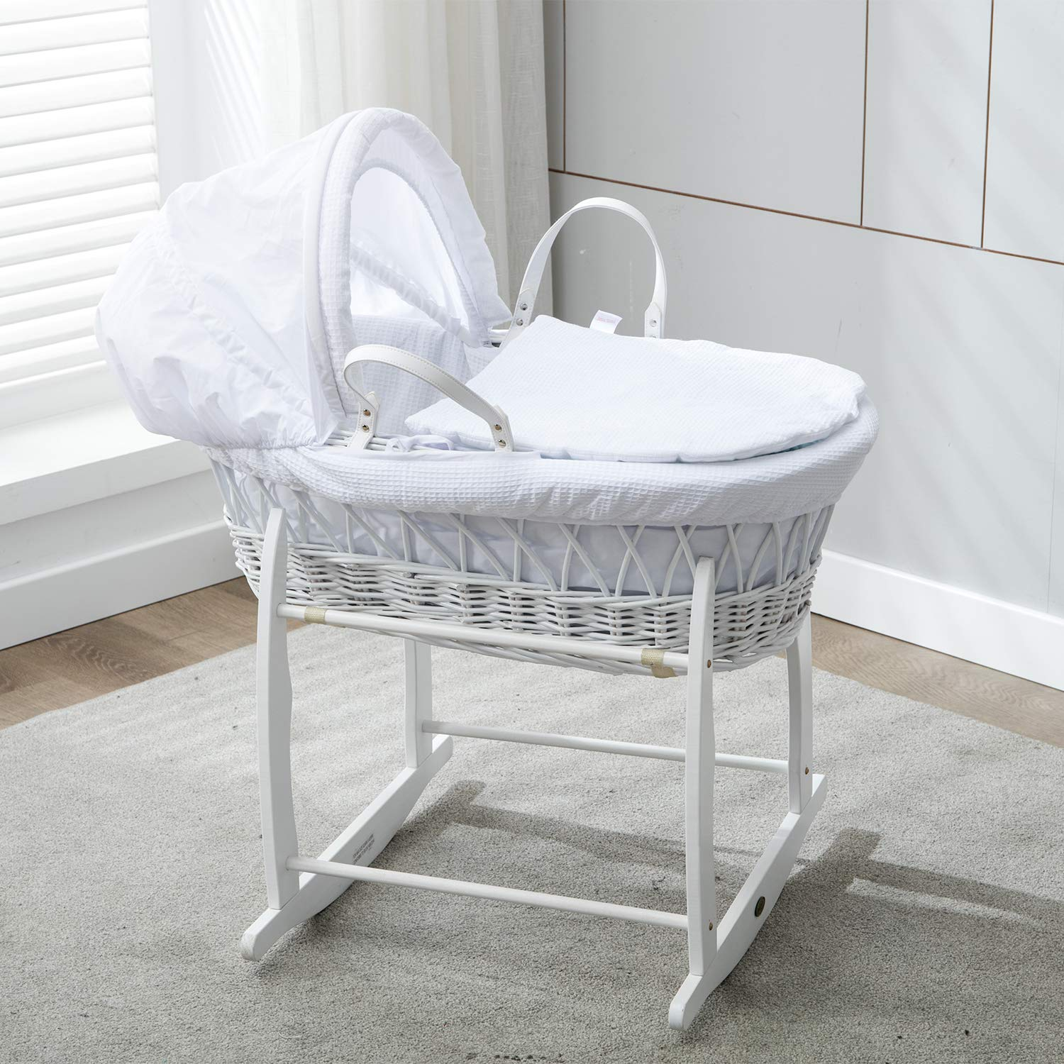 Mcc® Full Set White Wicker Moses Basket With White Waffle Dressing 100% Cotton & Rocking Stand