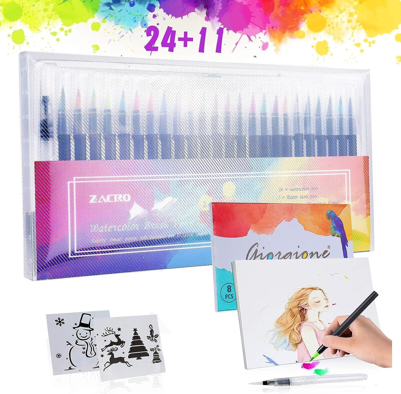 24 rotuladores de colores + pincel de agua, plantillas y papeles de dibujo profesionales por sólo 8,99€ con el #código: CPVC4GRU