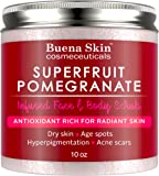 Pomegranate Brightening Face & Body Scrub — Great For Dry Skin, Age Spots, Hyperpigmentation, Acne Flare-Ups and Acne Scars --- Renews Your Skin's Youthful Radiance | 10 oz by Buena Skin