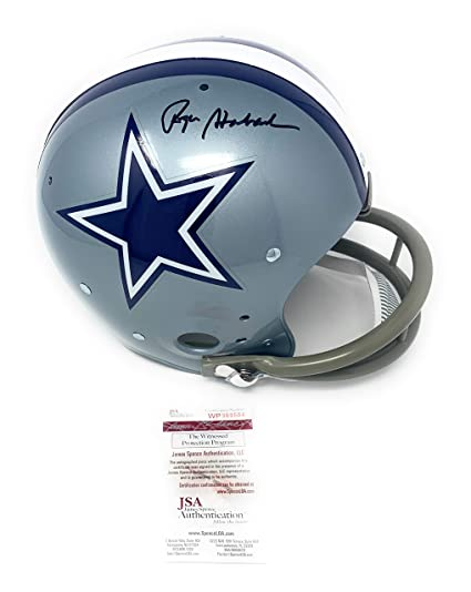a18019d80a9 Roger Staubach Dallas Cowboys Signed Autograph TK 2 Bar Throwback 1967 Full  Size Helmet JSA Witnessed