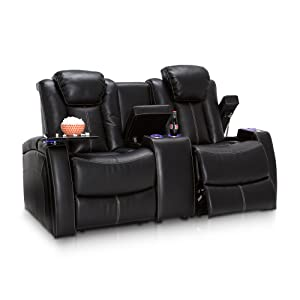 Seatcraft 162E51151449-V1 Omega Leather Gel Home Theater Seating Recline Loveseat with Adjustable Powered Headrests, Black
