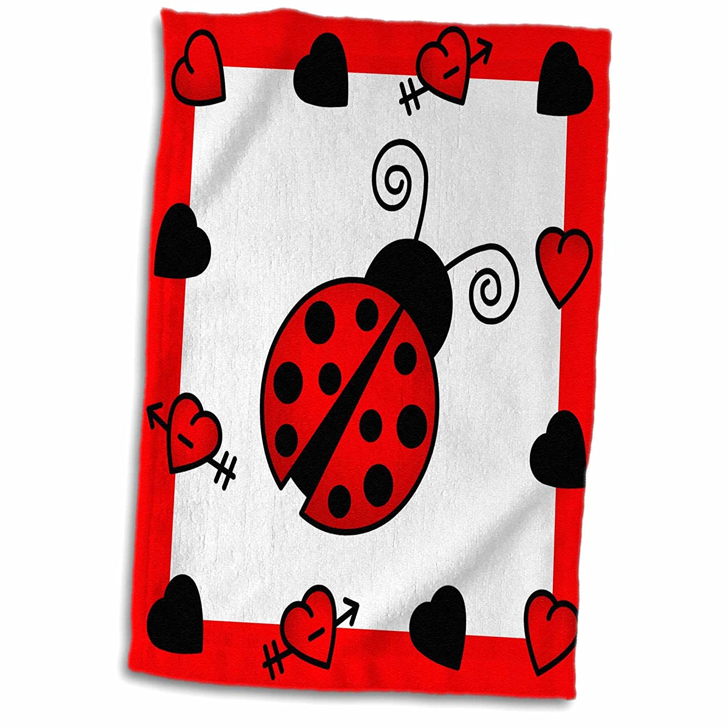 3D Rose Love Bugs Red Ladybug with Hearts TWL/_12112/_1 Towel 15 x 22