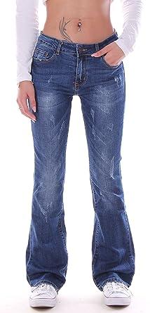 Damen Bootcut Jeans, Schlagjeans, Schlag Hose, Hüftjeans in blau Damenjeans Damenhose Bootcutjeans Bootcuthose Schlaghose Weites Bein Hüfthose Hüft