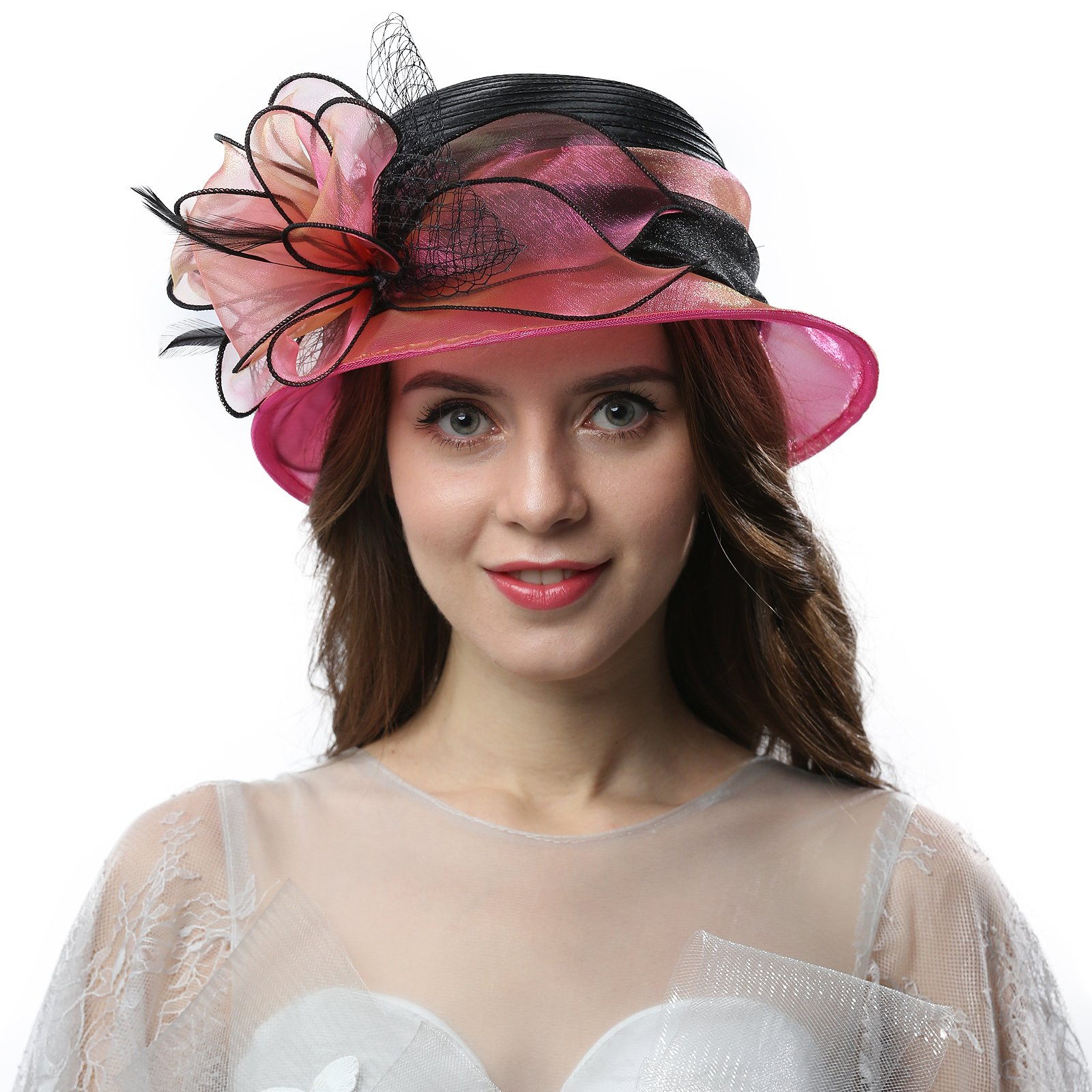 Janey&Rubbins Women Kentucky Derby Church Wedding Fascinators Cloche Bucket Bowler Hat (Fuschia/Black)