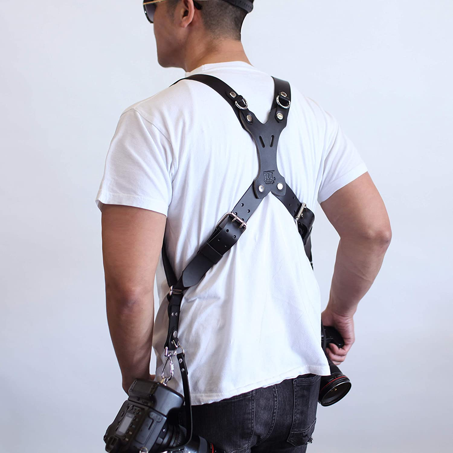Mirrorless DLSR Rebel Dual Handmade Leather Camera Harness Large, Coffee Point /& Shoot Made in The USA Sling /& Strap RL Handcrafts