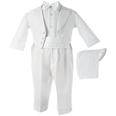 bf669857d Lauren Madison baby boy Christening Baptism Tuxedo with Matching Hat,  White, 0-3