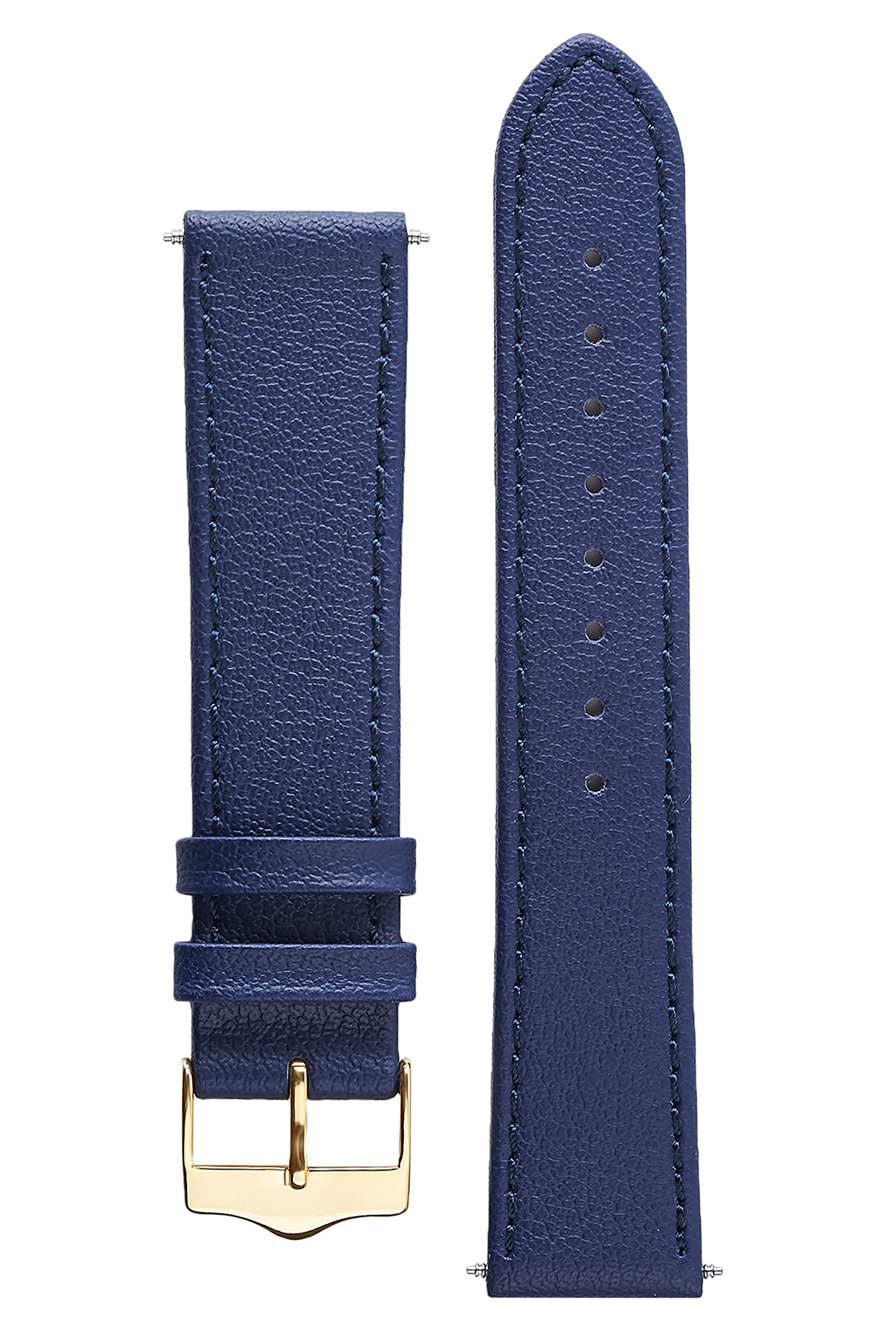 Signature Seasons in Blue 16 mm watch band. Replacement watch strap. Genuine leather. Gold Buckle