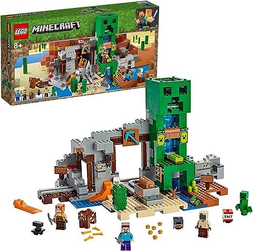 LEGO 21155 Minecraft Mine Steve Minifigure, Blacksmith, Husk, Creeper and Animal Figures plus TNT Elements the Nether Micro World Toys for Kids