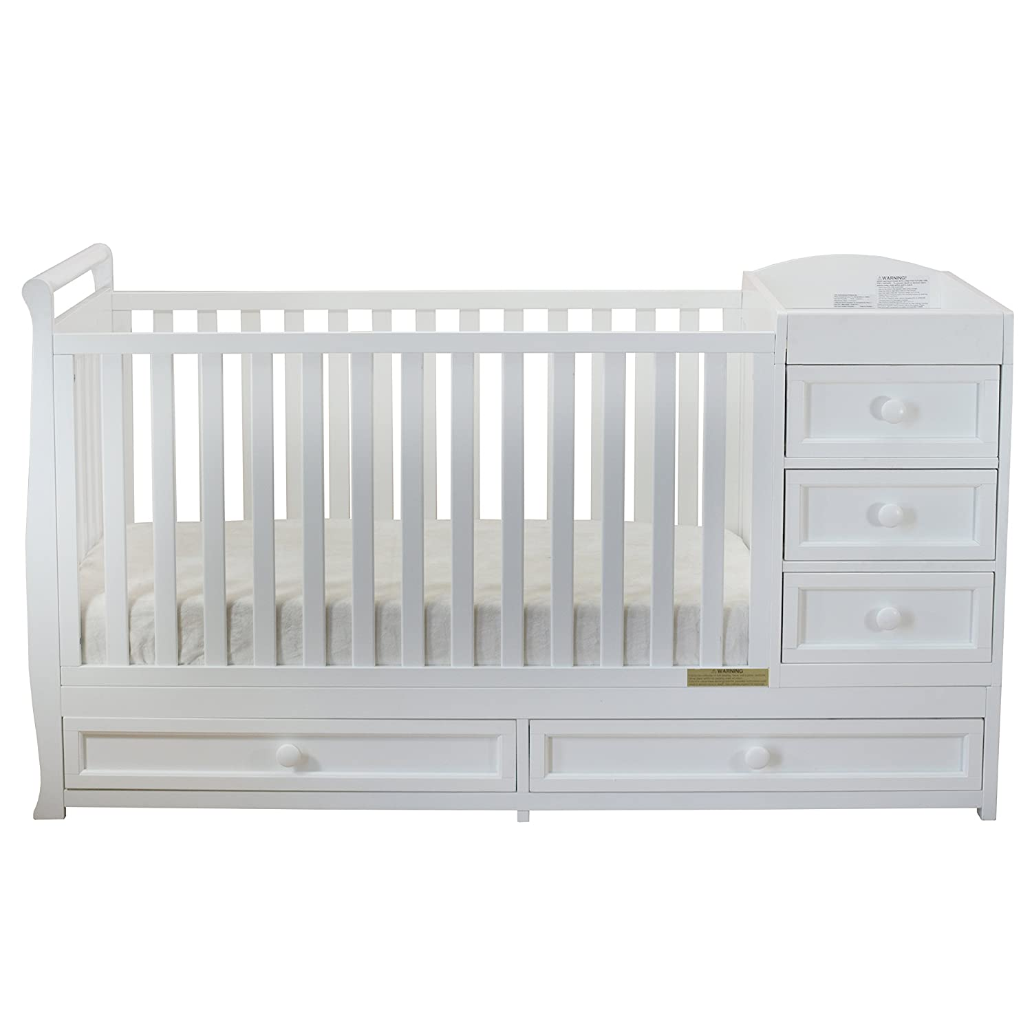 Amazon.com : Athena Daphne Convertible Crib and Changer, White : Baby