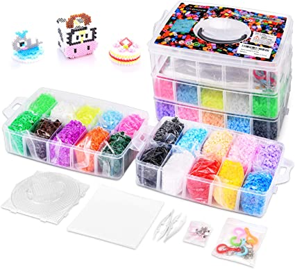 20 colors Peg Boards Tweezers 20,000 Fuse Beads 5 Glow in the Dark Case Works with Perler Beads Ironing Paper