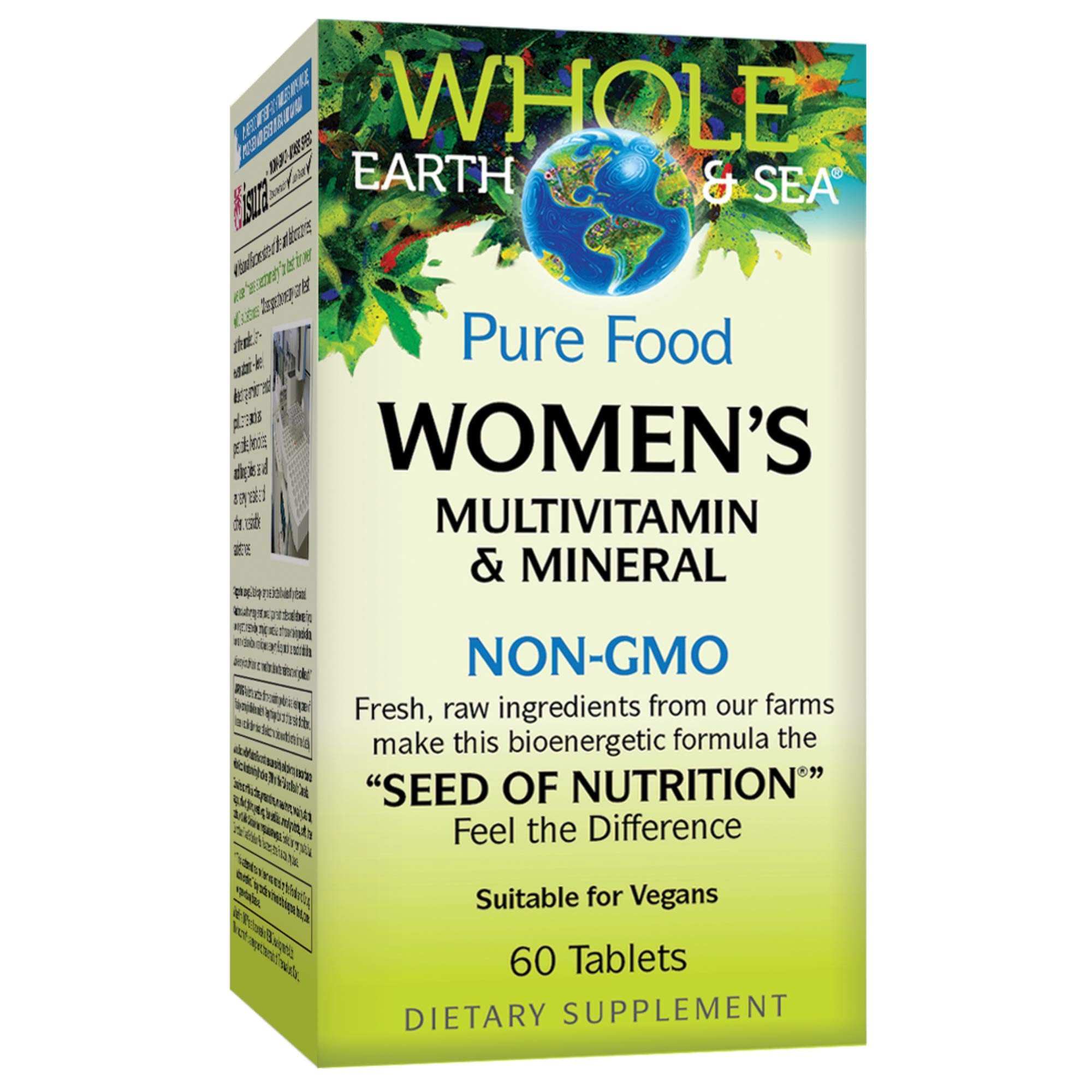 Whole Earth & Sea from Natural Factors, Women's Multivitamin & Mineral, Whole Food Supplement, Vegan and Gluten Free, 60 Tablets (30 Servings) by Natural Factors