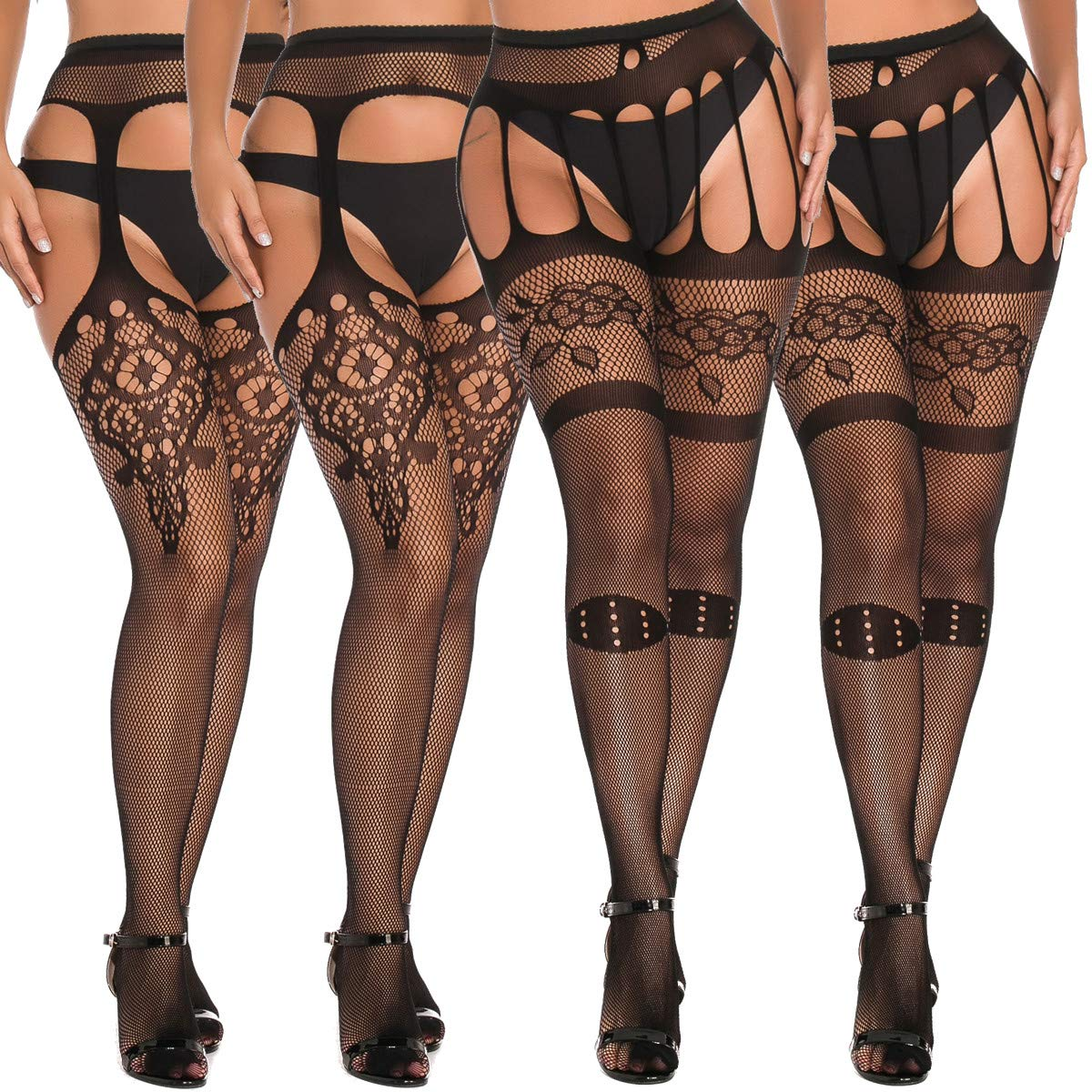 MengPa Fishnet Tights Suspender Stockings Thigh-High Pantyhose Black