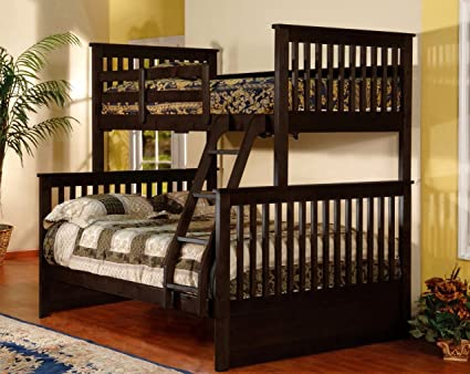 Amazon Com Kendall Twin Over Full Kids Bunk Bed Sturdy Dark Brown