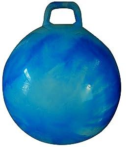 AppleRound Space Hopper Ball with Air Pump: 20in/50cm Diameter for Ages 7-9, Hop Ball, Kangaroo Bouncer, Hoppity Hop, Jumping Ball, Sit & Bounce (Blue Cloud)