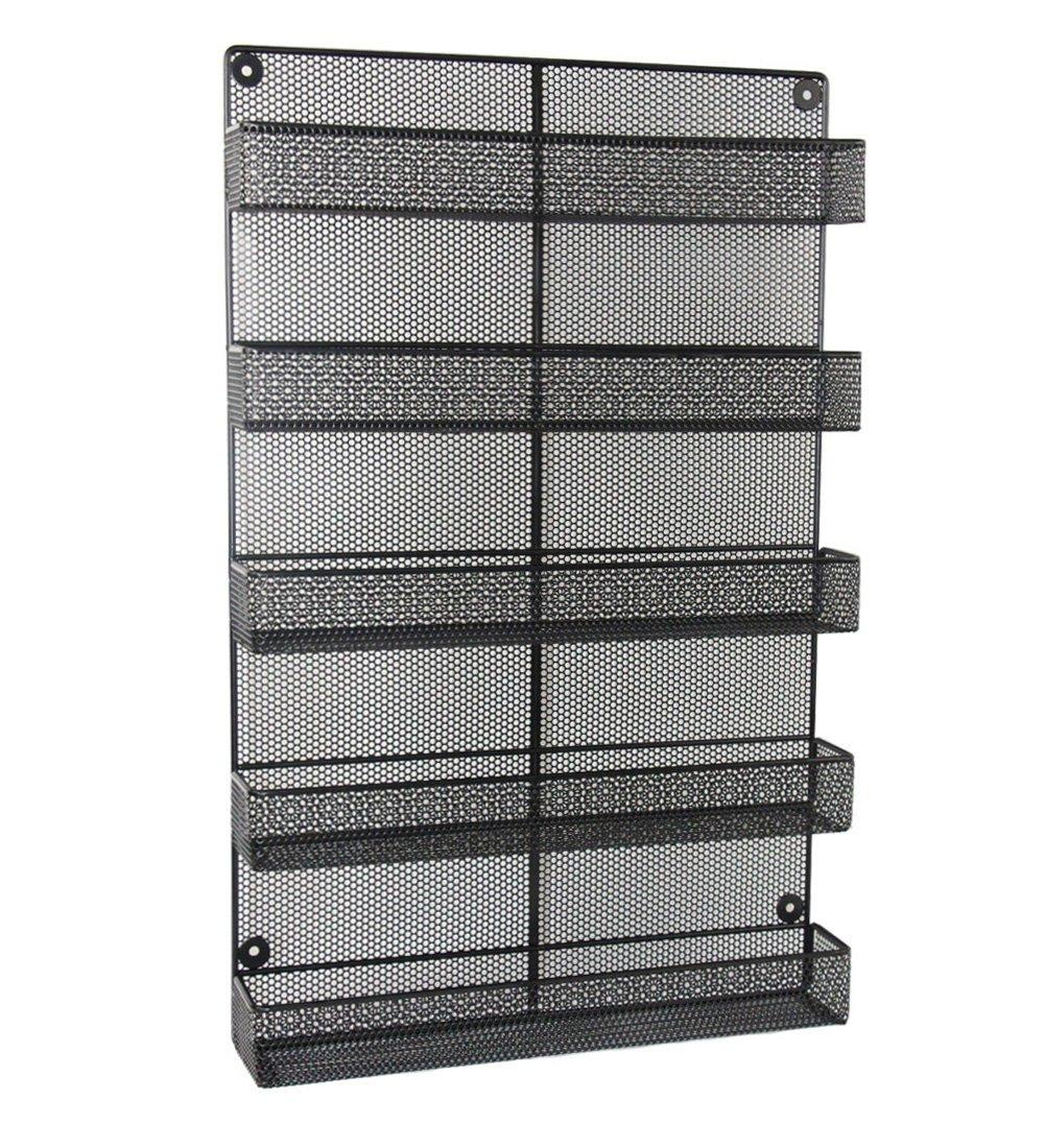 ESYLIFE 5 Tier Wall Mount Spice Rack Organizer Large Spice Storage Shelf - Made of Sturdy Punching Net, Black ShiYuan
