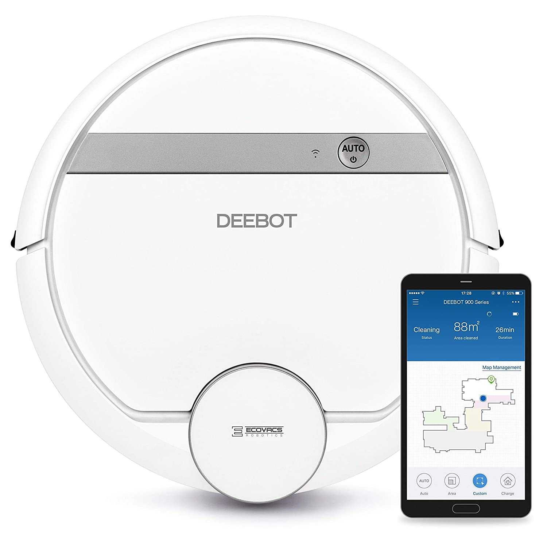 Ecovacs DEEBOT 900 Robot Aspirador, 67 Decibeles, Blanco: Amazon.es ...
