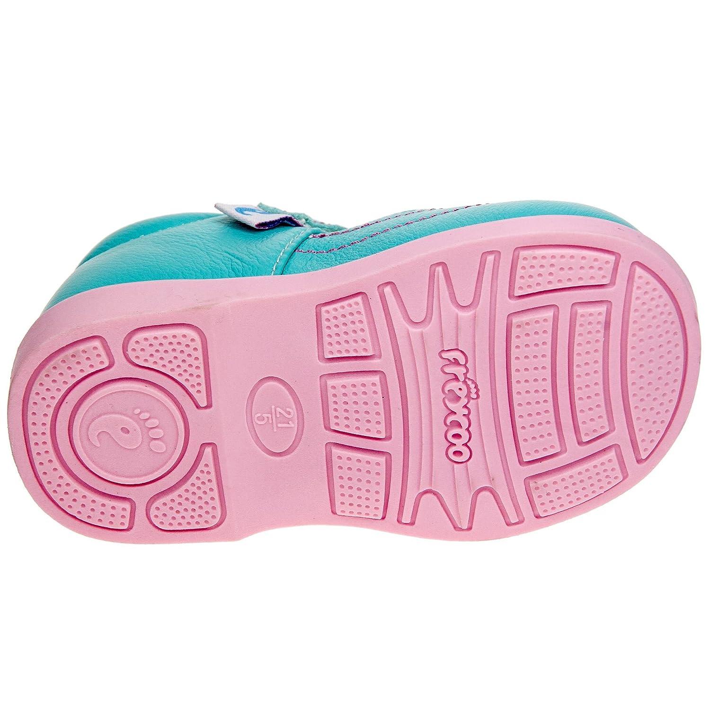 Bébés Filles Freycoo Enfants Royaux - Chaussures En Cuir Rose Avec Velcro - Coupe Large bUYKtMh